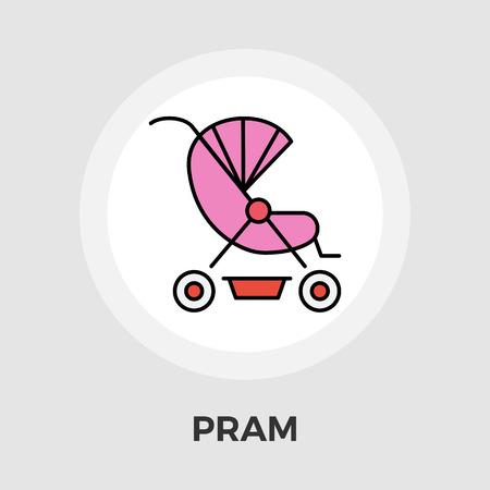 perambulator: Pram icon vector. Flat icon isolated on the white background. Editable EPS file. Vector illustration.