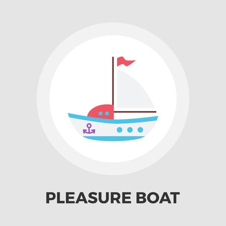 pleasure: Pleasure Boat Icon Vector. Flat icon isolated on the white background. Editable EPS file. Vector illustration.