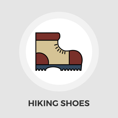 Hiking shoes icon vector. Flat icon isolated on the white background. Editable EPS file. Vector illustration.  イラスト・ベクター素材