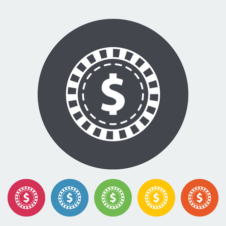 pursuit: Gambling chips. Single flat icon on the circle button. Vector illustration. Illustration