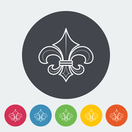 royal french lily symbols: Fleur. Single flat icon on the circle button. Vector illustration. Illustration