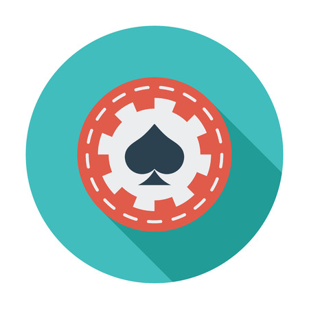 las vegas metropolitan area: Gambling chips icon. Flat vector related icon with long shadow for web and mobile applications. It can be used as - logo, pictogram, icon, infographic element. Vector Illustration.