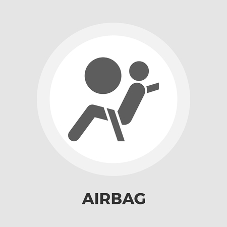 Airbag icon vector. Flat icon isolated on the white background. Editable EPS file. Vector illustration. Illustration