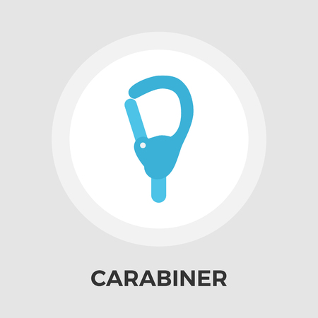 karabiner: Carabiner icon vector. Flat icon isolated on the white background. Editable EPS file. Vector illustration.