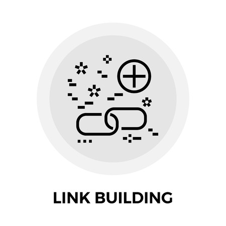 link building: Link Building icon vector. Flat icon isolated on the white background. Editable EPS file. Vector illustration. Illustration
