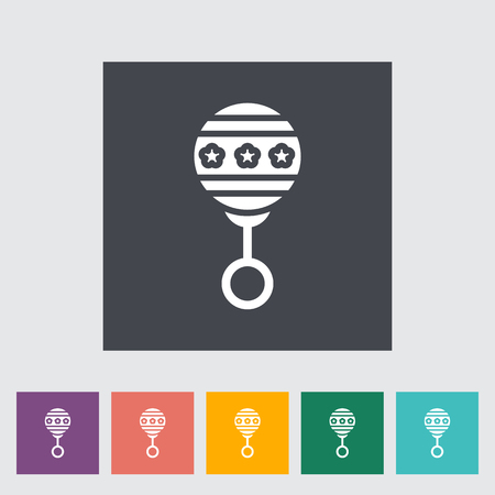 Rattle icon. Flat vector related icon with long shadow for web and mobile applications. It can be used as -  pictogram, icon, infographic element. Vector Illustration. Vectores