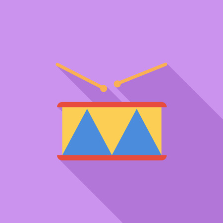 drumming: Drum icon. Flat vector related icon with long shadow for web and mobile applications. It can be used as - pictogram, icon, infographic element. Vector Illustration.