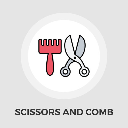 Scissors and comb icon vector. Flat icon isolated on the white background. Vector illustration.