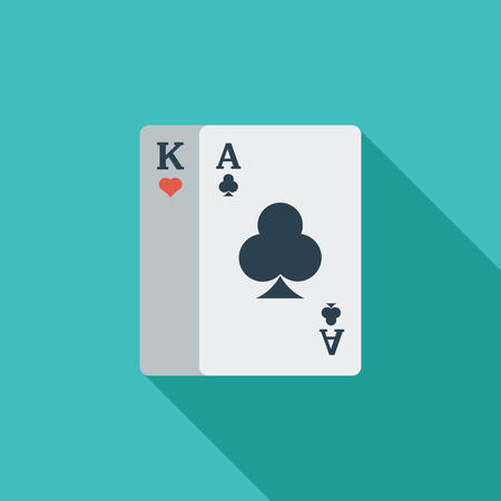 play card: Play card icon. Flat vector related icon with long shadow for web and mobile applications. It can be used as -  pictogram, icon, infographic element. Vector Illustration.