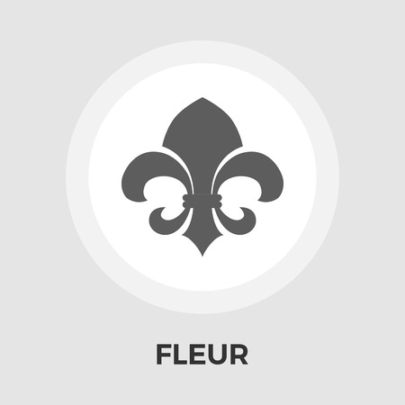 royal french lily symbols: Fleur icon vector. Flat icon isolated on the white background.  Vector illustration.