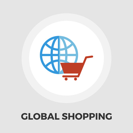 spherule: Global shopping icon vector. Flat icon isolated on the white background.  Vector illustration. Illustration