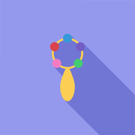 Rattle icon. Flat vector related icon with long shadow for web and mobile applications. It can be used as - pictogram, icon, infographic element. Vector Illustration.