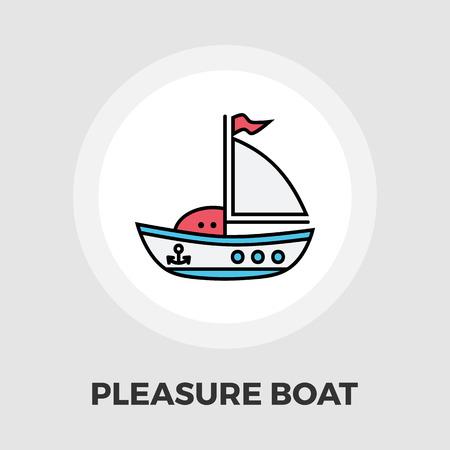 pleasure: Pleasure Boat Icon Vector. Flat icon isolated on the white background.  Vector illustration.