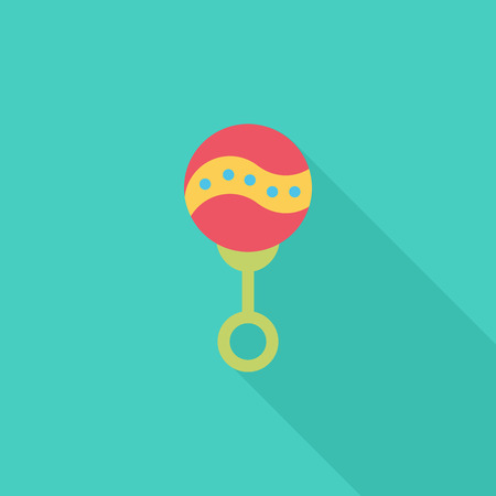 Rattle icon. Flat vector related icon with long shadow for web and mobile applications.