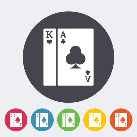 double the chances: Play card icon. Flat vector related icon with long shadow for web and mobile applications.