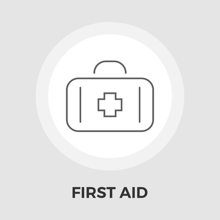 medical preparation: First aid icon vector. Flat icon isolated on the white background. Editable EPS file. Vector illustration.