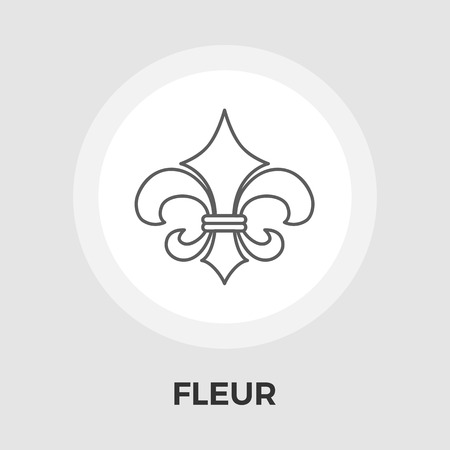 royal french lily symbols: Fleur icon vector. Flat icon isolated on the white background. Editable EPS file. Vector illustration.