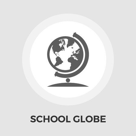 school globe: School globe icon vector. Flat icon isolated on the white background. Editable EPS file. Vector illustration.