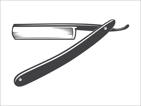 straight razor: Straight razor isolated on a white background illustration