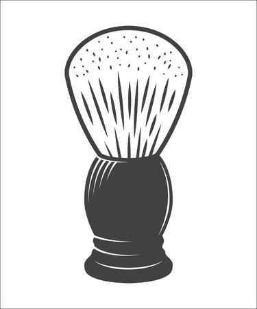brocha de afeitar aislado en un fondo blanco Ilustración
