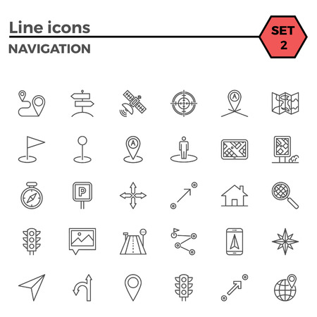 navigation pictogram: Navigation thin line related icons set on white background. Simple mono linear pictogram pack Stroke vector  concept for web graphics.