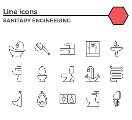 bidet: Sanitary engineering thin line related icons set on white background. Simple mono linear pictogram pack Stroke vector logo concept for web graphics. Illustration