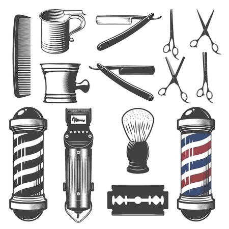 Conjunto de elementos barbería de la vendimia aislados en un fondo blanco.