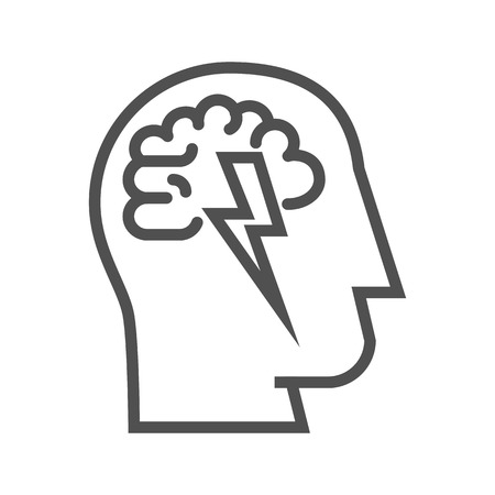 brainstorm: Brainstorm thin line vector icon on white background.
