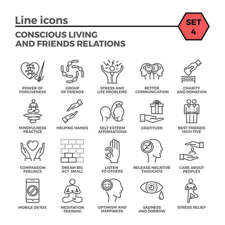 Bewusstes Leben und Freunde Beziehungen dünne Linie im Zusammenhang mit Icons auf weißem Hintergrund. Einfache Mono linear Piktogramm Pack Stroke-Vektor-Konzept für Web-Grafiken.