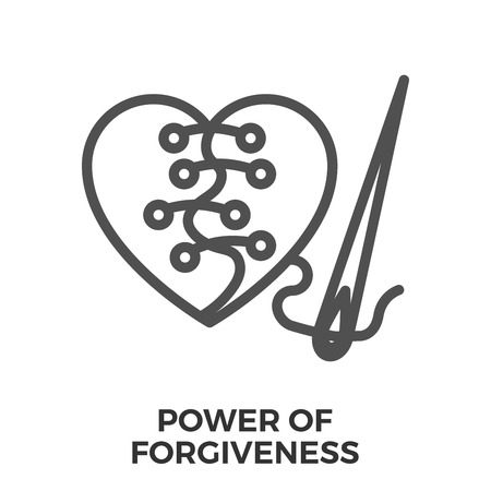 forgiveness: Power of forgiveness thin line vector icon isolated on the white background.