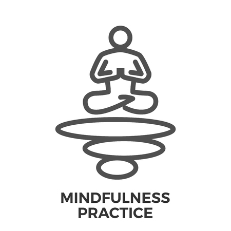 mindfulness: Mindfulness practice thin line vector icon isolated on the white background. Illustration