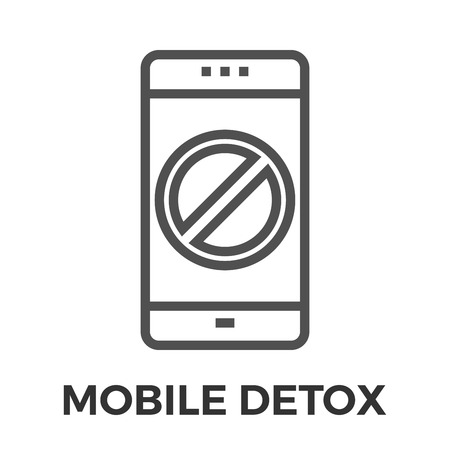 cell phones not allowed: Mobile detox thin line vector icon isolated on the white background.