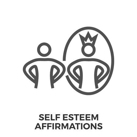 self esteem: Self esteem affirmations thin line vector icon isolated on the white background.