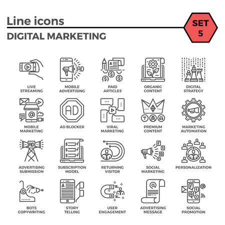 article marketing: Digital marketing relations thin line related icons set on white background. Simple mono linear pictogram pack