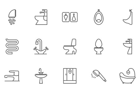 sanitary engineering: Sanitary engineering vector thin line related icon set for web and mobile applications. It can be used as - logo, pictogram, icon, infographic element. Editable Stroke. 64x64 Pixel.