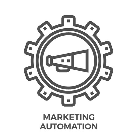 Marketing Automation Thin Line Vector Icon Isolated on the White Background. Ilustração
