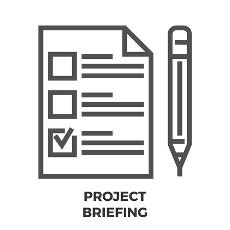 briefing: Project Briefing Thin Line Vector Icon Isolated on the White Background. Illustration