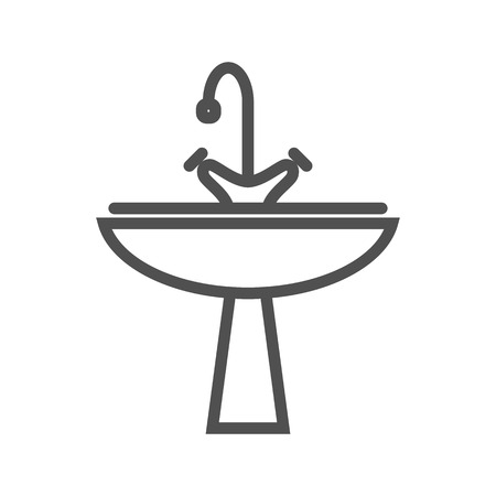 Sink Thin Line Vector Icon Isolated on the White Background.