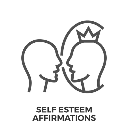 affirmation: Self Esteem Affirmations Thin Line Vector Icon Isolated on the White Background. Illustration