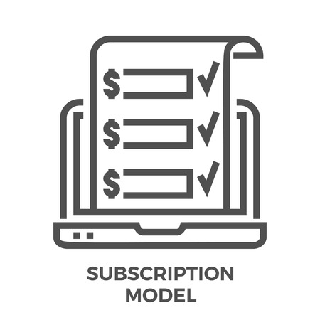 Subscription Model Thin Line Vector Icon Isolated on the White Background. Çizim
