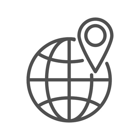 geolocation: Geo Tag Thin Line Vector Icon Isolated on the White Background.