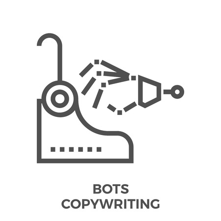 scriptwriter: Bots Copywriting Thin Line Vector Icon Isolated on the White Background.