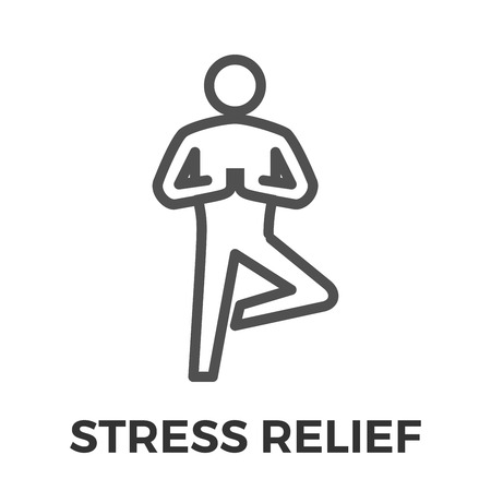 relief: Stress Relief Thin Line Vector Icon Isolated on the White Background.