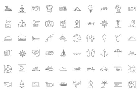 Travel Thin Line Related Icons Set on White Background. Summer Holidays, Vacation and Travel. Simple Mono Linear Pictograph Pack Stroke Vector