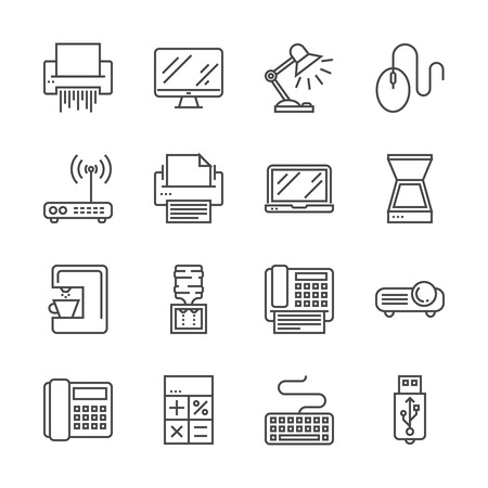 Office Devices Thin Line Related Icons Set Isolated on White . Simple Mono Linear Pictogram Pack Stroke Vector Logo Concept for Web Graphics. Editable Stroke. 48x48 Pixel Perfect. Illustration