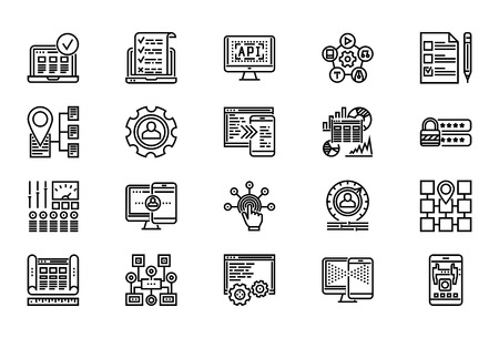 black pictogram: Web Development Thin Line Related Icons Set of Web Design and Website Customization on White Background. Simple Mono Linear Pictograph Stroke Vector