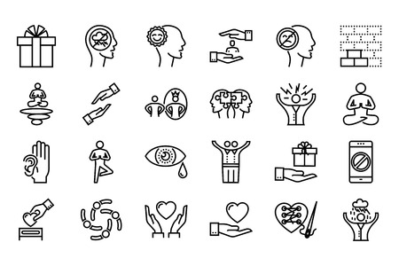 conscious: Conscious Living and Friends Relations Thin Line Related Icons Set on White Background. Simple Mono Linear Pictograph Pack Stroke Vector