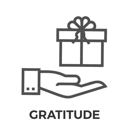 gratitude: Gratitude Thin Line Vector Icon Isolated on the White Background.
