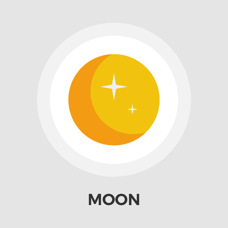 Moon icon vector. Flat icon isolated on the white background. Illustration