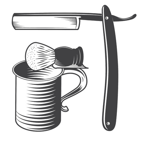 Shaving Mug, Brush and Razor Isolated on a White Background. Vector